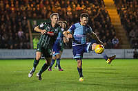 David Fox of Plymouth Argyle pressures Matthew Bloomfield of Wycombe Wanderers during the Sky Bet League 2 match between Plymouth Argyle and Wycombe Wanderers at Home Park, Plymouth, England on 26 December 2016. Photo by Mark  Hawkins / PRiME Media Images.