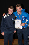 St Johnstone FC Academy Awards Night...06.04.15  Perth Concert Hall<br /> Ally Gilchrist presents a certificate to Thomas Gray<br /> Picture by Graeme Hart.<br /> Copyright Perthshire Picture Agency<br /> Tel: 01738 623350  Mobile: 07990 594431