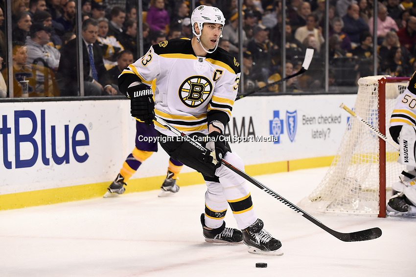 Tuesday, February 9, 2016: Boston Bruins defenseman Zdeno Chara (33) in game action during the National Hockey League game between the Los Angeles Kings and the Boston Bruins, held at TD Garden, in Boston, Massachusetts. The Kings defeat the Bruins 9-2. Eric Canha/CSM