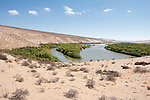The Orange River, here seen from the location of the former German police station Hohenfels, is the southern border of the Sperrgebiet National Park and constitutes the boundary between Namibia and South Africa. The river has been a lifeline in the desert ever since.