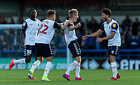 Bolton Wanderers' Ronan Darcy (2nd right) celebrates scoring his side's first goal with his team mates<br /> <br /> Photographer Andrew Kearns/CameraSport<br /> <br /> The Carabao Cup First Round - Rochdale v Bolton Wanderers - Tuesday 13th August 2019 - Spotland Stadium - Rochdale<br />  <br /> World Copyright © 2019 CameraSport. All rights reserved. 43 Linden Ave. Countesthorpe. Leicester. England. LE8 5PG - Tel: +44 (0) 116 277 4147 - admin@camerasport.com - www.camerasport.com