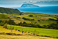 A view of the island of Corvo, less than 20 miles away from Flores, among the smallest islands of the archipelago of the azores
