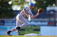 Hudson Valley Renegades third baseman Jim Haley (38) throws to first during a game against the Batavia Muckdogs on August 1, 2016 at Dwyer Stadium in Batavia, New York.  Hudson Valley defeated Batavia 5-1.  (Mike Janes/Four Seam Images)