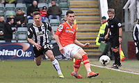 Dan Potts of Luton Town plays the ball down the wing during the Sky Bet League 2 match between Plymouth Argyle and Luton Town at Home Park, Plymouth, England on 19 March 2016. Photo by Liam Smith.