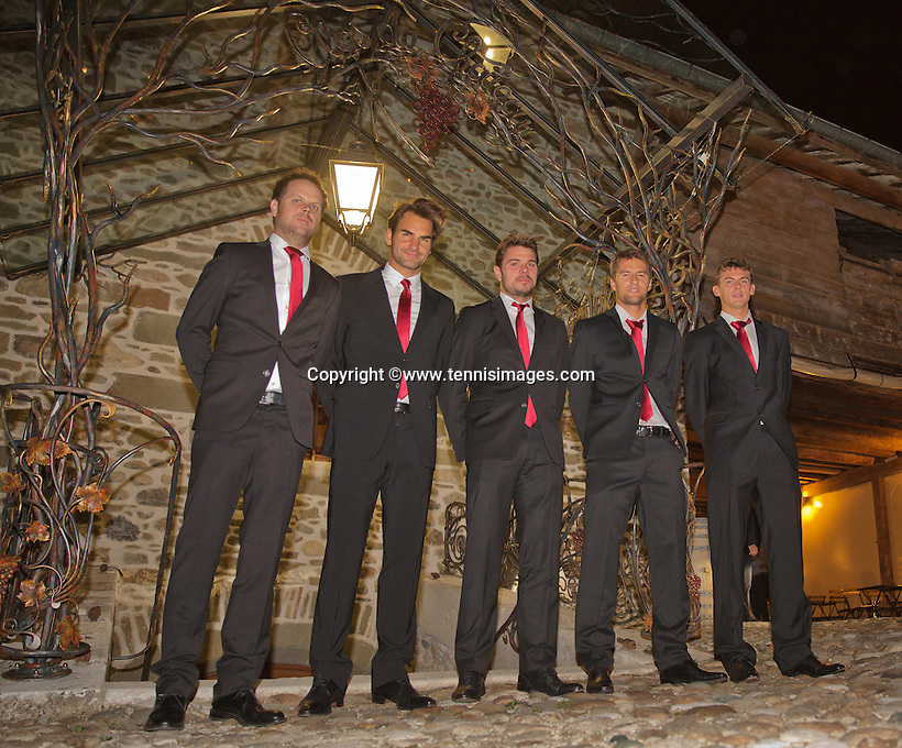 Switserland, Genève, September 16, 2015, Tennis,   Davis Cup, Switserland-Netherlands, location of the official diner Clos du Chateau,  Swiss team, Ltr: Captain Severin Luthi, Roger Federer, Stan Wawrinka, Marco Chiudinelli and Henri Laaksonen <br /> Photo: Tennisimages/Henk Koster