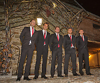 Switserland, Gen&egrave;ve, September 16, 2015, Tennis,   Davis Cup, Switserland-Netherlands, location of the official diner Clos du Chateau,  Swiss team, Ltr: Captain Severin Luthi, Roger Federer, Stan Wawrinka, Marco Chiudinelli and Henri Laaksonen <br /> Photo: Tennisimages/Henk Koster