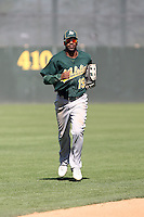 Myrio Richard #19 of the Oakland Athletics plays in a minor league spring training game against the San Francisco Giants at Papago Park on March 31, 2011 in Phoenix, Arizona. .Photo by:  Bill Mitchell/Four Seam Images.