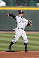 Scranton Wilkes-Barre Yankees second baseman Kevin Russo #5 during a game against the Rochester Red Wings at Frontier Field on April 9, 2011 in Rochester, New York.  Rochester defeated Scranton 7-6 in twelve innings.  Photo By Mike Janes/Four Seam Images