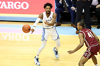 CHAPEL HILL, NC - FEBRUARY 1: Leaky Black #1 of the University of North Carolina passes the ball during a game between Boston College and North Carolina at Dean E. Smith Center on February 1, 2020 in Chapel Hill, North Carolina.
