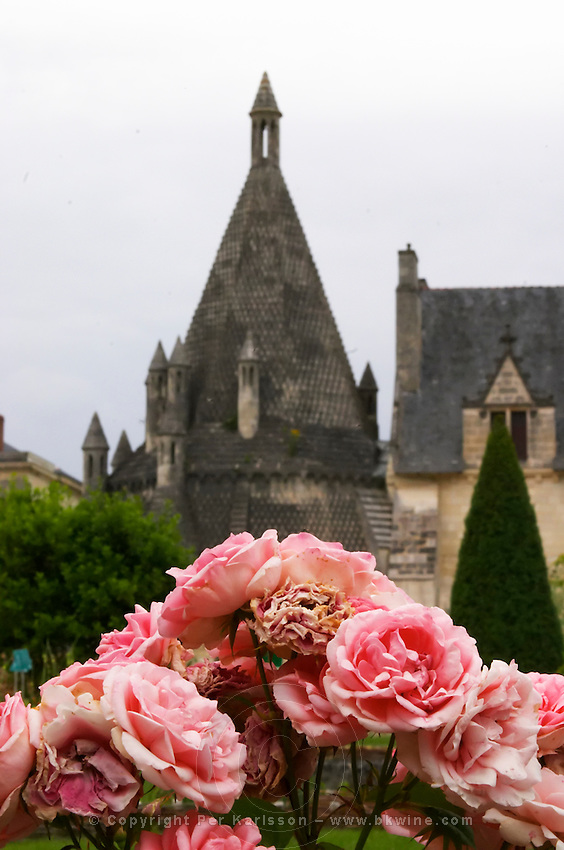The abbey kitchen. Roses. Abbaye Royale de Fontevraud abbey, Loire, France