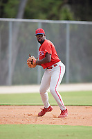Philadelphia Phillies third baseman D.J. Stewart (10) throws to first base during an Instructional League game against the Toronto Blue Jays on October 7, 2017 at the Englebert Complex in Dunedin, Florida.  (Mike Janes/Four Seam Images)