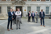 UKIP supporters outside Europe House, Westminster. Launch of EU Referendum campaign poster, London