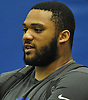 Tyrell Chavis speaks with a reporter during the second day of New York Giants Rookie Minicamp held at Quest Diagnostics Training Center in East Rutherford, NJ on Saturday, May 12, 2018.