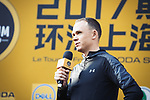Tour de France Champion Christopher Froome (GBR) Team Sky speaks at the welcome ceremony at the foot of the monumental Shanghai Oriental Pearl Tower, before the 2017 Tour de France Skoda Shanghai Criterium, Shanghai, China. 28th October 2017.<br /> Picture: ASO/Pauline Ballet | Cyclefile<br /> <br /> <br /> All photos usage must carry mandatory copyright credit (&copy; Cyclefile | ASO/Pauline Ballet)