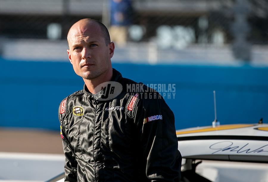 Mar. 1, 2013; Avondale, AZ, USA; NASCAR Sprint Cup Series driver Josh Wise during qualifying for the Subway Fresh Fit 500 at Phoenix International Raceway. Mandatory Credit: Mark J. Rebilas-