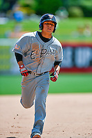 Luis Urias (28) of the El Paso Chihuahuas hustles towards third base against the during the Salt Lake Bees in Pacific Coast League action at Smith's Ballpark on July 10, 2016 in Salt Lake City, Utah. El Paso defeated Salt Lake 11-2. (Stephen Smith/Four Seam Images)
