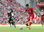 Liverpool's Dominic Solanke fires in a shot during the premier league match at the Anfield Stadium, Liverpool. Picture date 19th August 2017. Picture credit should read: David Klein/Sportimage