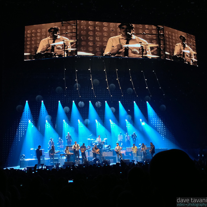 "Mumford & Sons brought up opening bands Heim and Ben Howard to perform a rendition of Bruce Springsteen's ""Atlantic City"" at the Susquehanna Bank Center in Camden, New Jersey on February 16, 2013."