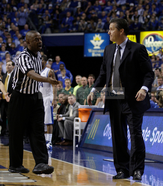 The referee tells John Calipari to move closer to his bench during the second half of the game between the University of Kentucky and Baylor University, on Saturday, Dec. 1, 2012 at Rupp Arena, in Lexington, Ky. Baylor won 64-55. Photo by Latara Appleby | Staff