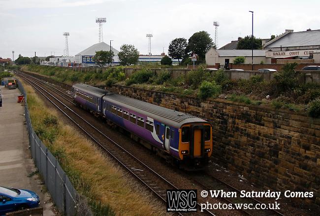 Hartlepool United 0 Sunderland 3, 20/07/2016. Victoria Park, Pre Season Friendly. a train passes The Victoria Ground. Photo by Paul Thompson.