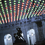 Luci d'artista a Torino. L'opera di Daniel Buren in piazza Palazzo di Città. Dicembre 2005...Artist's lights in Turin. The work by Daniel Buren. December 2005...Ph. Marco Saroldi. Pho-to.it