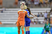 Houston, TX - Saturday July 22, 2017: Rachel Daly and Allysha Chapman during a regular season National Women's Soccer League (NWSL) match between the Houston Dash and the Boston Breakers at BBVA Compass Stadium.