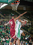 Denver Pioneers forward Chris Udofia (34) in action during the game between the Denver Pioneers and the University of North Texas Mean Green at the North Texas Coliseum,the Super Pit, in Denton, Texas. UNT defeated Denver 75 to 74 in overtime.