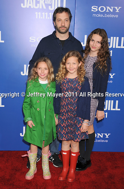 """WESTWOOD, CA - NOVEMBER 06: Judd Apatow, Iris Apatow, Maude Apatow; arrive for Los Angeles premiere of """"Jack And Jill"""" at Regency Village Theatre on November 6, 2011 in Westwood, California."""