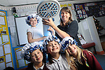 Welsh Water Shorter Shower Campaign at Mount Pleasant Primary School..L-R: Elin Griffiths, Cerys Haslam Taylor and Eloise Cawley with Holly Taylor and Welsh Water teacher Mary Watkins..01.12.11.©Steve Pope