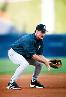Wade Boggs of the New York Yankees during a game at Anaheim Stadium in Anaheim, California during the 1997 season.(Larry Goren/Four Seam Images)