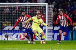 Diego Costa of Atletico de Madrid (L) fights for the ball with Arthur Melo of FC Barcelona (C) during the La Liga 2018-19 match between Atletico Madrid and FC Barcelona at Wanda Metropolitano on November 24 2018 in Madrid, Spain. Photo by Diego Souto / Power Sport Images