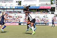 Cary, North Carolina  - Saturday July 01, 2017: Abby Erceg and Maya Hayes during a regular season National Women's Soccer League (NWSL) match between the North Carolina Courage and the Sky Blue FC at Sahlen's Stadium at WakeMed Soccer Park.