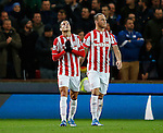 Ibrahim Afellay of Stoke City (L) celebrates scoring the opening goal  - Capital One Cup Quarter-Final - Stoke City vs Sheffield Wednesday - Britannia Stadium - Stoke - England - 1st December 2015 - Picture Simon Bellis/Sportimage