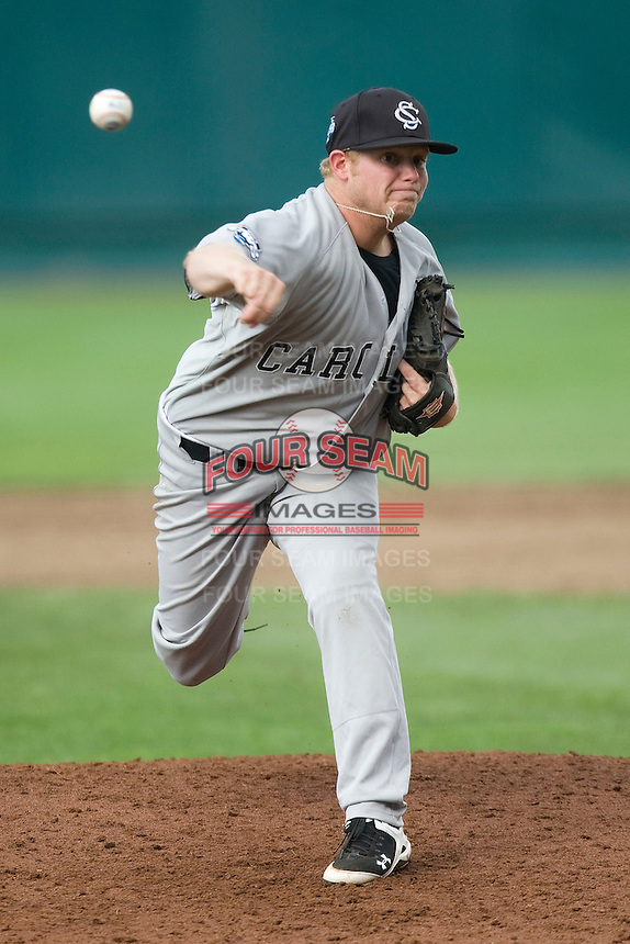 South Carolina's Blake Cooper pitches against Oklahoma in Game 3 of the NCAA Division One Men's College World Series on Sunday June 20th, 2010 at Johnny Rosenblatt Stadium in Omaha, Nebraska.  (Photo by Andrew Woolley / Four Seam Images)