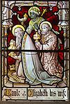 Stained glass east window detail three kings,  church of  Aldeburgh, Suffolk, England, UK c1891 J Hardman