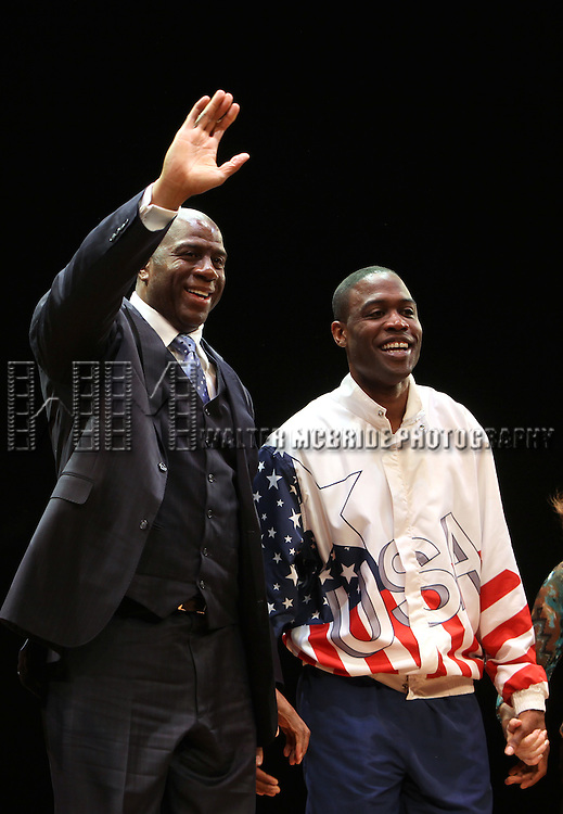 "Earvin 'Magic' Johnson, Kevin Daniels.during the Broadway Opening Night Performance Curtain Call for ""Magic / Bird"" at the Longacre Theatre in New York City on April 11, 2012"