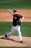 Rochester Red Wings pitcher Alex Meyer (32) delivers a pitch during a game against the Norfolk Tides on May 3, 2015 at Frontier Field in Rochester, New York.  Rochester defeated Norfolk 7-3.  (Mike Janes/Four Seam Images)