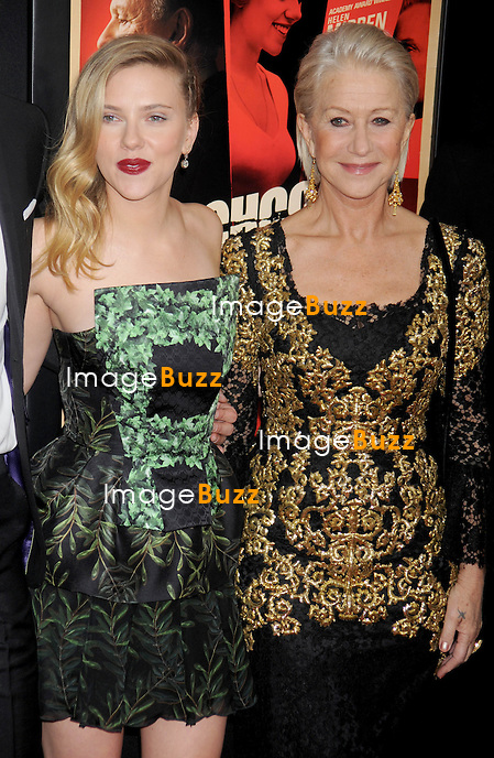 "Scarlett Johansson and Helen Mirren at the premiere of ""Hitchcock"" in New York City..New York, November 18, 2012."