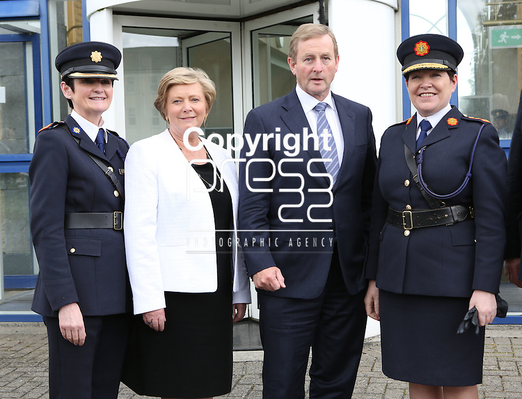 23/7/2015.    Graduating from the Garda College in Templemore this Thursday were from left Chief Supt. Anne Marie McMahon, Director Garda College, the  Minister for Justice Frances Fitzgerald, Taoiseach Enda Kenny and Garda Commissioner Noirin Ni Suilleabhain.<br /> Photograph Liam Burke/Press 22