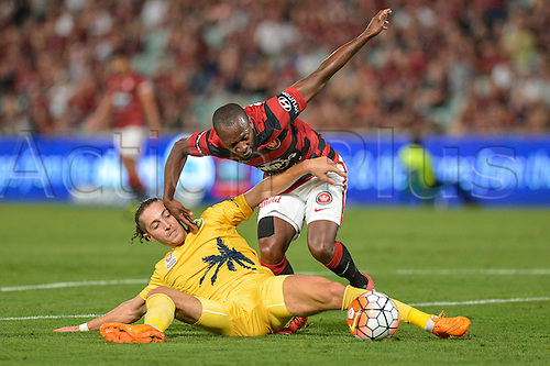 01.04.2016. Pirtek Stadium, Parramatta, Australia. Hyundai A-League. Western Sydney Wanderers versus Central Coast Mariners. Wanderers forward Romeo Castelen is tackled. The Wanderers won 4-1.