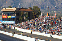 Feb 25, 2017; Chandler, AZ, USA; Overall view of the timing tower suites and main grandstands at Wild Horse Pass Motorsports Park during NHRA qualifying for the Arizona Nationals. Mandatory Credit: Mark J. Rebilas-USA TODAY Sports