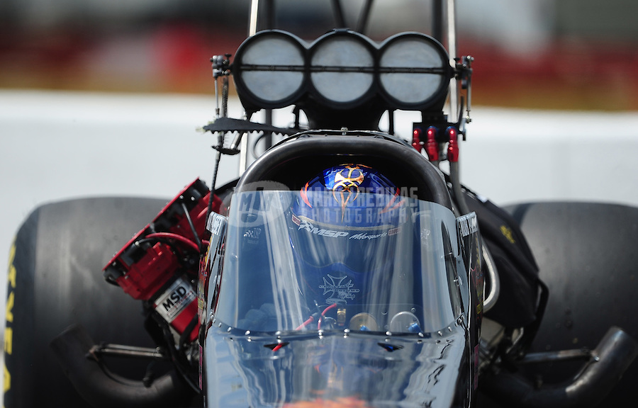 Apr. 28, 2012; Baytown, TX, USA: NHRA top fuel dragster driver Rob Passey during qualifying for the Spring Nationals at Royal Purple Raceway. Mandatory Credit: Mark J. Rebilas-