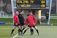 Match officials prepare ahead of the Greene King IPA Championship match between Ealing Trailfinders and London Welsh RFC at Castle Bar , West Ealing , England  on 26 November 2016. Photo by David Horn / PRiME Media Images