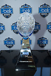 The Belk Bowl trophy was on display during Media Day at the Charlotte Convention Center on December 28, 2017 in Charlotte, North Carolina.  (Brian Westerholt/Sports On Film)