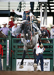 Jake Wright competes in the saddle bronc riding event at the Reno Rodeo in Reno, Nev., on Friday, June 20, 2014.<br />