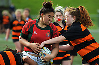 Action from the 2017 Hurricanes Secondary Schools Under-15 Girls' Rugby Tournament match between Wairarapa Barbarians and Bishop Viard College at Wakefield Park in Wellington, New Zealand on Tuesday, 5 September 2017. Photo: Dave Lintott / lintottphoto.co.nz