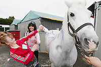 6/8/2010. Jenifer Lyons and Leia Oakman from Athlone are pictured washing their horse Atlantic Grey at the Failte Ireland RDS House Show. Picture James Horan/Collins