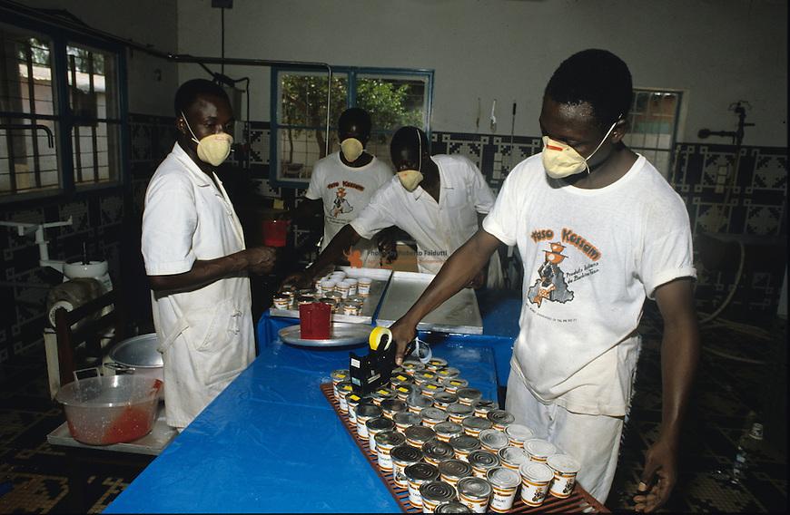 Workers in Yogurt plant