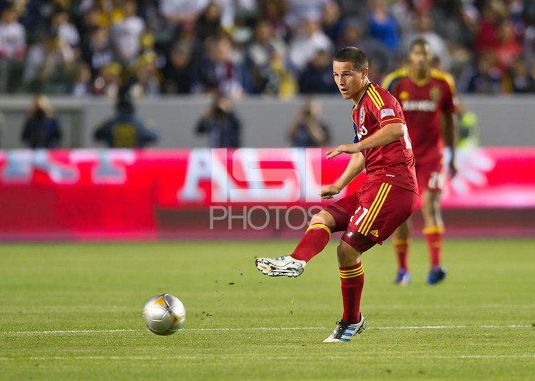 CARSON, CA - March 10,2012: Real Salt Lake midfielder Luis Gil (21) during the LA Galaxy vs Real Salt Lake match at the Home Depot Center in Carson, California. Final score LA Galaxy 1, Real Salt Lake 3.
