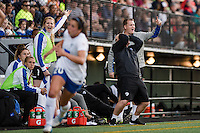 Seattle, WA - Saturday, July 02, 2016: Boston Breakers head coach Matt Beard reacts during a regular season National Women's Soccer League (NWSL) match between the Seattle Reign FC and the Boston Breakers at Memorial Stadium. Seattle won 2-0.
